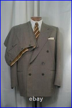 1940s 1950s Vintage Grey Houndstooth Double Breasted Mens Suit 42R (Send Offers)