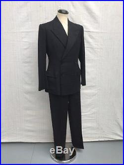 1940s Vtg Suit Double Breasted 1950s Suit Vtg Charcoal Bespoke Tailored Suit