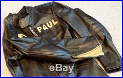 1960's LANGLITZ Vintage LEATHER MOTORCYCLE RACING 1pc JACKET PANTS Riding Suit