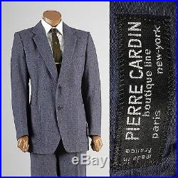 40R Vintage Mens 1970s 70s Pierre Cardin Blue Fleck Tweed Suit 2pc Designer