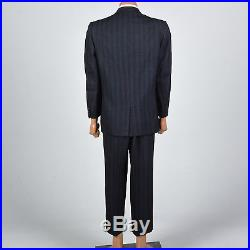 43R Mens 1950s Hollywood Waist Two Piece Suit Three Button Jacket Black Blue VTG