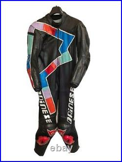90s Vintage Mens DAINESE Motorcycle Leather Suit 1-Piece Black Size 38