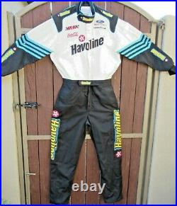 Authentic Vintage Simpson one piece driving suit with extensive sponsor badging