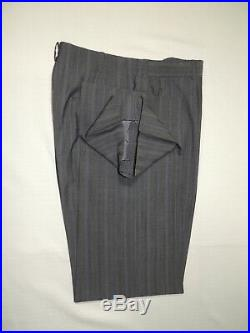 Bespoke Bill Cairo Vtg Gray stripe Double Breasted suit coat 38 R pants 32X30.5