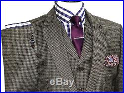 Bnwt Mens Gibson Vintage London Gingham Check 3 Piece Suit 44r W38 X L32