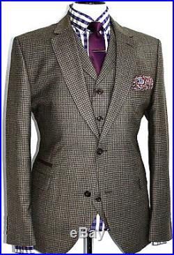 Bnwt Mens Gibson Vintage London Gingham Check 3 Piece Suit 46r W40 X L32