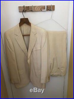 Brioni 1970s Vintage Cream Mens 38 Jacket And Matched Trousers