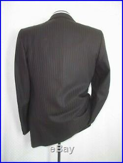 Brioni Brown Self Striped Double Breasted Vtg Wool Suit 38 RPants 32W x 30.5L