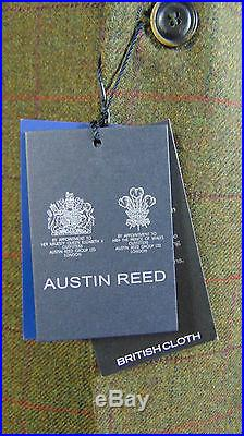 British Made AUSTIN REED Mens Green Brown Overcheck Wool Suit Vintage Jacket NEW