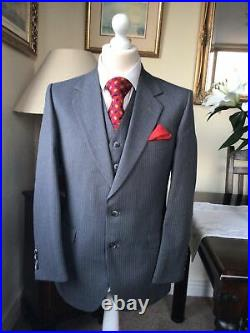 Burberrys Grey Striped Bespoke Vintage Wool 3 Piece Suit 38/34With29.5IL VGC