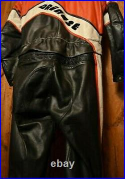 DAINESE ITALY 1970's RARE VINTAGE CAFE RACER MOTORCYCLE BIKER LEATHER SUIT 44-L
