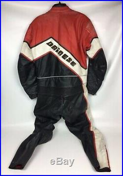 Dainese Vintage Leather Motorcycle Riding Suit 2 Piece Size 52 Black/ Red/White