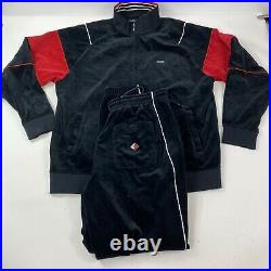 ENYCE Black Red Velour Sweatsuit Track Suit Size XXL Rare Vintage Very Nice