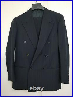 GIORGIO ARMANI MANI suit double breasted navy blue pinstripe 2pc Vintage