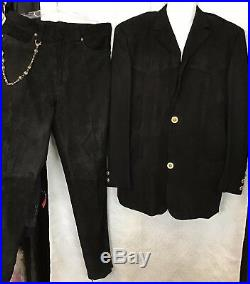 Gianni Versace Vintage 3pc Suit Black Suede And Cashmere Gold Buttons Size 40