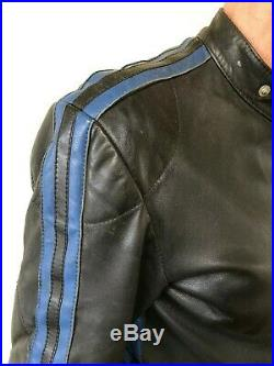 HARRO Kombi Vintage Black & Blue Stripes Leather 2 Piece Motorcycle Suit Sz. 42