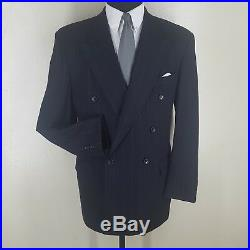 HUGO BOSS Vintage U. S. A. Double Breasted Wool Suit No Vents 40 L-Fit 42L-43 Long