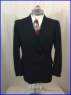 Men's Vintage 1940's RALPH'S Black Wool Double Breasted Suit