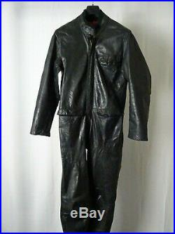 Men's Vintage 1970's Swedish Malung Goatskin Leather 2 Piece Motorcycle Suit 42R