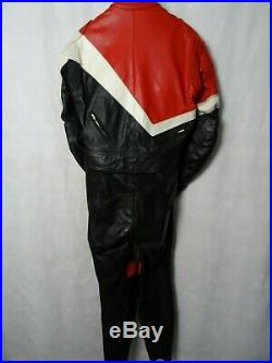 Men's Vintage 1980'S Hein Gericke 2 Piece Leather Motorcycle Suit 40R W32 L30
