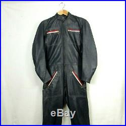 Mens 1970s Vintage Bates Leather Motorcycle Racing Suit One Piece Red Blue Sz M