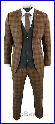 Mens 3 Piece Check Wool Suit Tweed Tan Brown Green Tailored Fit Classic Vintage