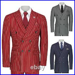 Mens 3 Piece Double Breasted Suit Vintage Chalk Stripe Smart Classic Tailor Fit