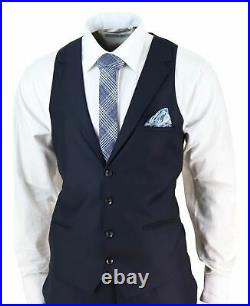 Mens 3 Piece Suit Blue Tailored Fit Smart Formal 1920s Classic Vintage Gatsby