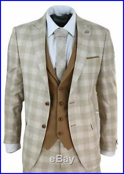 Mens 3 Piece Suit Check 1920s Gatsby Tweed Vintage Beige Classic Wedding Prom