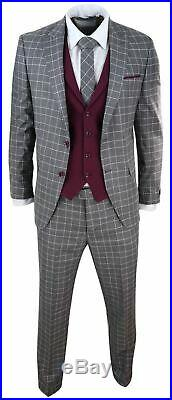 Mens 3 Piece Suit Check 1920s Gatsby Tweed Vintage Grey Classic Wedding Prom