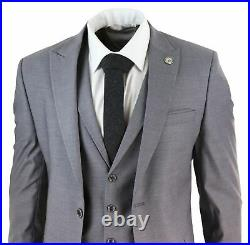 Mens 3 Piece Suit Grey Tailored Fit Smart Formal 1920s Classic Vintage Gatsby