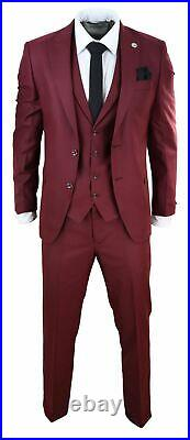 Mens 3 Piece Suit Maroon Tailored Fit Smart Formal 1920s Classic Vintage Gatsby