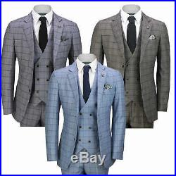 Mens 3 Piece Suit Retro Windowpane Check Vintage Style Smart Casual Tailored Fit