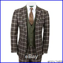 Mens 3 Piece Suit Vintage Tweed Check Tonal Brown Smart Tailored Fit UK Size