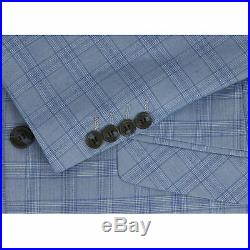 Mens 3 Piece Tailored Fit Blue Prince of Wales Check Smart Vintage Retro Suit