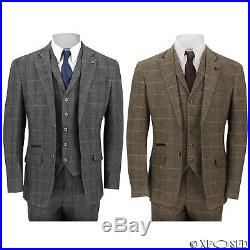 Mens 3 Piece Tweed Suit Vintage Herringbone Check Retro Slim Fit Tan Brown, Grey
