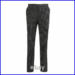 Mens Black Pinstripe 3 Piece Suit White Stripe Vintage Gatsby Style Tailored Fit