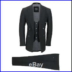 Mens Black Vintage 3 Piece Double Breasted Suit Fitted Jacket Waistcoat Trousers