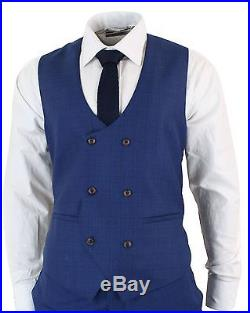 Mens Blue Check Retro Vintage Double Breasted Waistcoat 3 Piece Suit Slim Fit