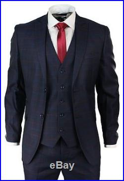 Mens Navy Blue Wine Check 3 Piece Suit Wedding Party Formal Retro Vintage Fitted