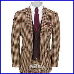 Mens Vintage 3 Piece Suit Plaid Tartan Check Slim Fit Jacket Waistcoat Trouser