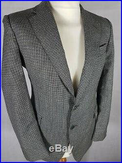 Mens Vintage 60s Tweed Suit Chest 38 Waist 32 Grey Houndstooth Pure Wool Mod