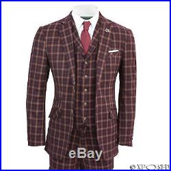 Mens Vintage Prince of Wales Check Maroon Plum Retro Tailored Fit 3 Piece Suit