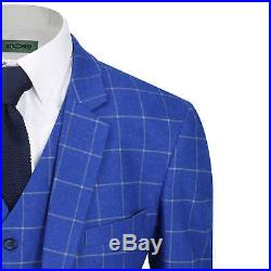 Mens Vintage Tweed White on Blue Check Tailored Fit 3 Piece Suit with Waistcoat