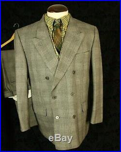 Mens Vtg Prince of Wales check DB Double Breasted Suit 1940's 44 S 36/37w 29L
