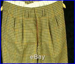 Mens Vtg Tweed DB Double Breasted 1940's 30's Peg Trousers Suit 32w 34L 38/40 D1