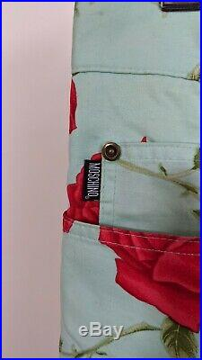 Moschino Cheap and Chic Vintage 90s Blue Green Rose 2 Piece Suit 50