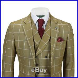 New Mens Classic 3 Piece Suit White Bold Check on Tan Retro Vintage Tailored Fit
