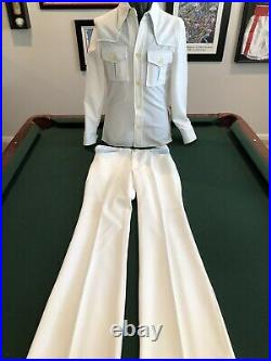 Pioneer Wear Vintage NOS NWT Mens 2 Pc LeIsure Suit 38 White Poly Regular