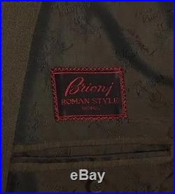 RARE Vintage Brioni Suit 42R-34x32 Double Breasted Olive Green Mens Wool Solid